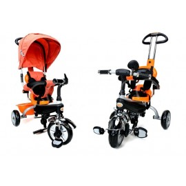 Dětská tříkolka kočárek 2v1 PARTY BRIKE PLUS orange