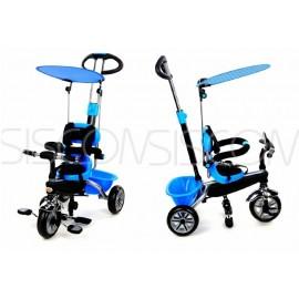 Dětská tříkolka motorka kočárek 2v1 PARTY BRIKE blue
