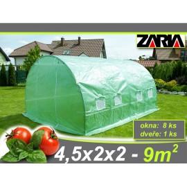 Zahradní tunelový fóliovník ZARIA plus okna 2 x 4.5m 9m2 AKCE